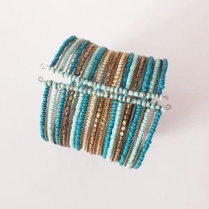 Teal/Gold Multi-Layer Wire Cuff Bracelet